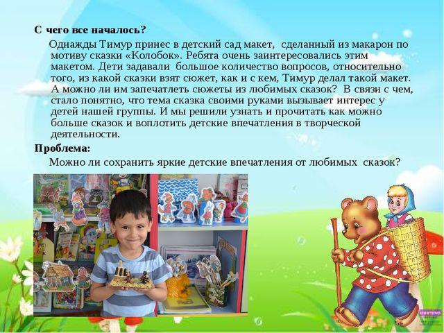 С чего все началось? Однажды Тимур принес в детский сад макет, сделанный из м...