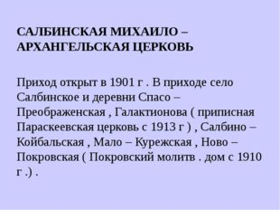 САЛБИНСКАЯ МИХАИЛО – АРХАНГЕЛЬСКАЯ ЦЕРКОВЬ Приход открыт в 1901 г . В приходе