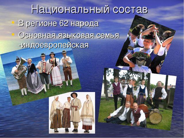 Национальный состав В регионе 62 народа Основная языковая семья -индоевропейс...