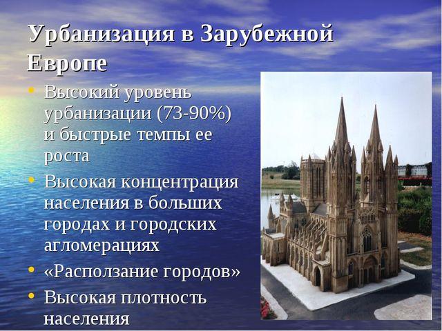 Урбанизация в Зарубежной Европе Высокий уровень урбанизации (73-90%) и быстры...