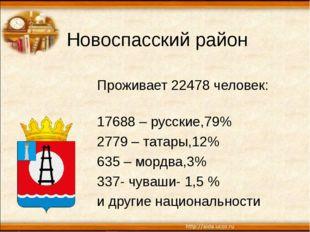 Новоспасский район Проживает 22478 человек: 17688 – русские,79% 2779 – татары