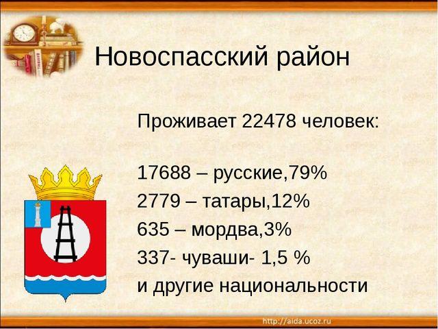 Новоспасский район Проживает 22478 человек: 17688 – русские,79% 2779 – татары...