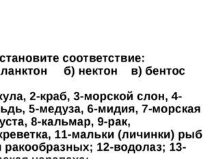 4. Установите соответствие: а) планктон б) нектон в) бентос 1-акула, 2-краб,