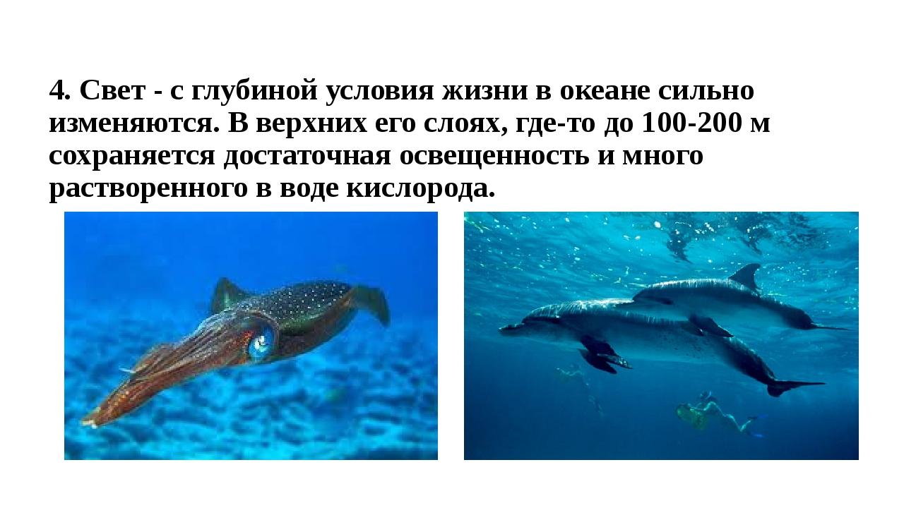 4. Свет - с глубиной условия жизни в океане сильно изменяются. В верхних его...