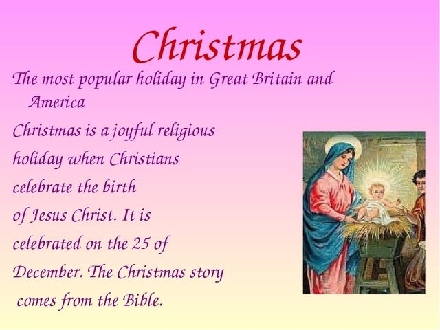 Christmas The most popular holiday in Great Britain and America  Christmas i...