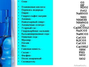 Озон - Плавиковая кислота- Перекись водорода- Пирит - Гидросульфит натрия- Ам