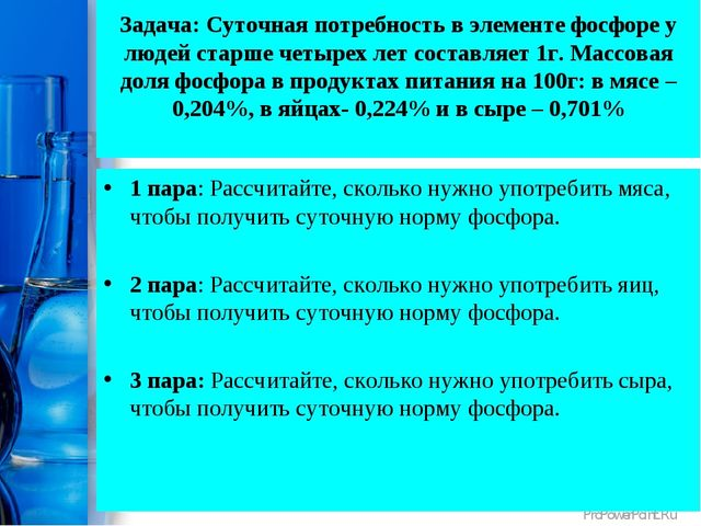 Задача: Суточная потребность в элементе фосфоре у людей старше четырех лет со...