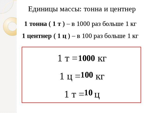 Единицы массы: тонна и центнер 1 тонна ( 1 т ) – в 1000 раз больше 1 кг 1 цен...