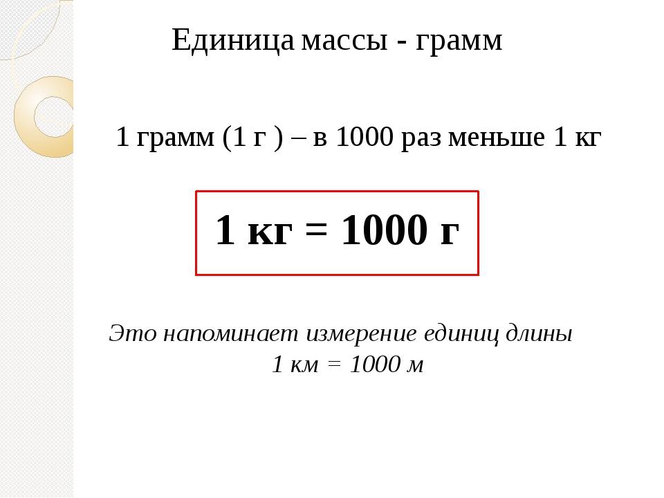 Единица массы - грамм 1 грамм (1 г ) – в 1000 раз меньше 1 кг 1 кг = 1000 г Э...