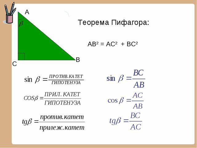 С А В АВ2 = АС2 + ВС2 Теорема Пифагора: