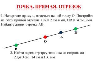 Начертите прямую, отметьте на ней точку О. Постройте на этой прямой отрезки О