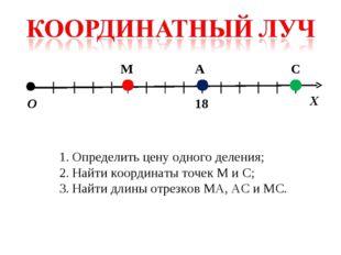 О Х М А С 18 Определить цену одного деления; Найти координаты точек М и С; На