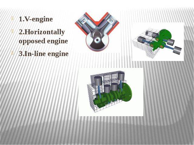 1.V-engine 2.Horizontally opposed engine 3.In-line engine