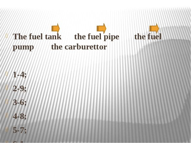 The fuel tank the fuel pipe the fuel pump the carburettor 1-4; 2-9; 3-6; 4-8...