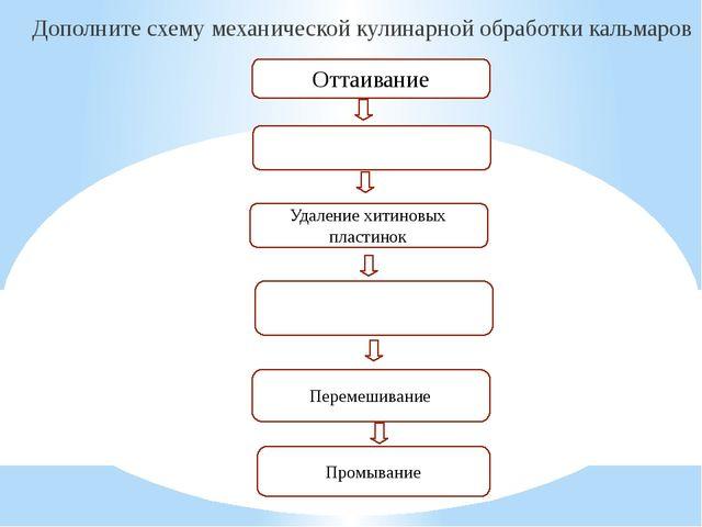 Дополните схему механической кулинарной обработки кальмаров Оттаивание Удален...