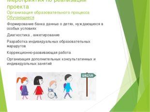 Мероприятия по реализации проекта Организация образовательного процесса Обуча