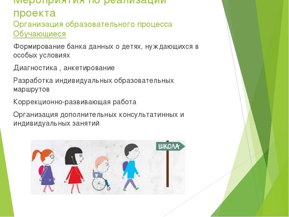 Мероприятия по реализации проекта Организация образовательного процесса Обуча...