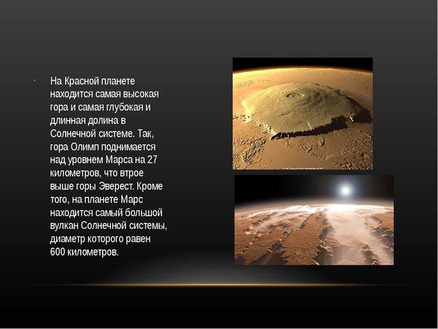 На Красной планете находится самая высокая гора и самая глубокая и длинная д...
