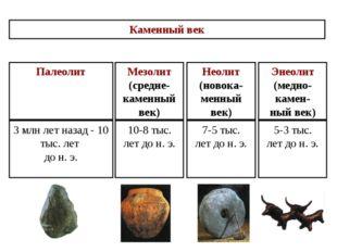 3 млн лет назад - 10 тыс. лет до н. э. Палеолит 5-3 тыс. лет до н. э. Энеолит