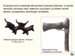 В результате освоения металлов (сначала бронзы, а затем железа) человек смог