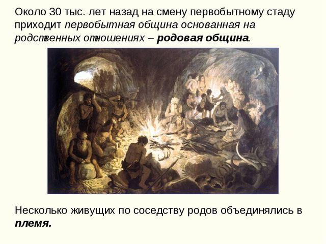 Около 30 тыс. лет назад на смену первобытному стаду приходит первобытная общи...
