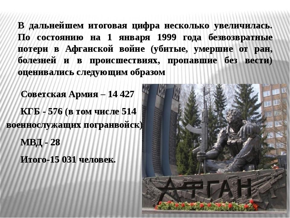 Советская Армия – 14 427 КГБ - 576 (в том числе 514 военнослужащих погранвой...