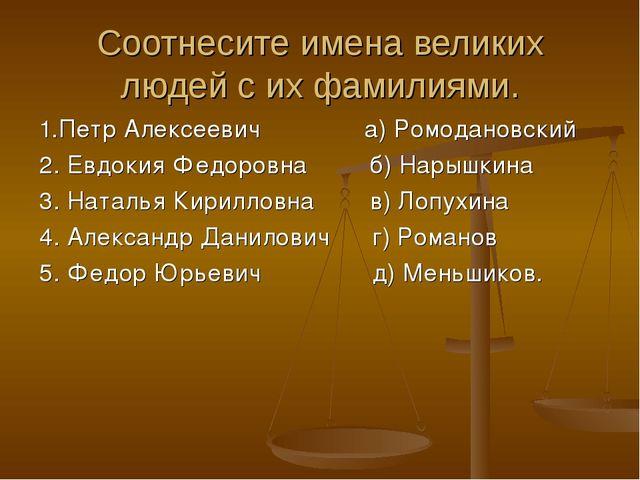 Соотнесите имена великих людей с их фамилиями. 1.Петр Алексеевич а) Ромоданов...