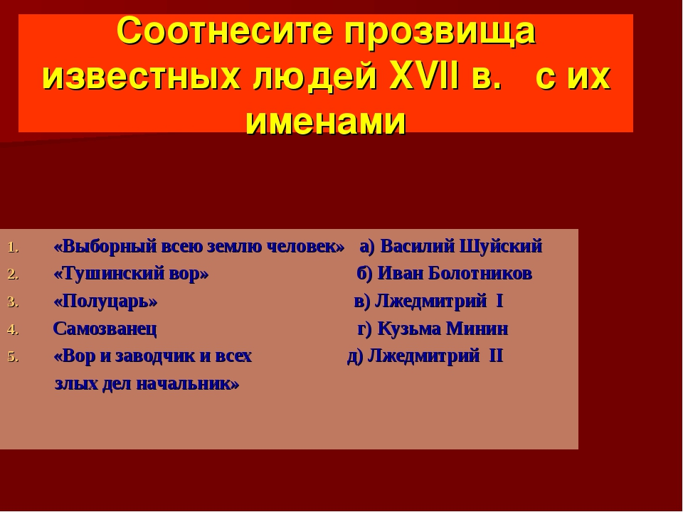 Соотнесите прозвища известных людей XVII в. с их именами «Выборный всею землю...
