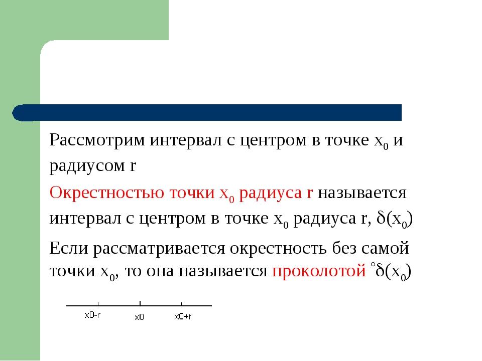 Рассмотрим интервал с центром в точке x0 и радиусом r Окрестностью точки x0 р...