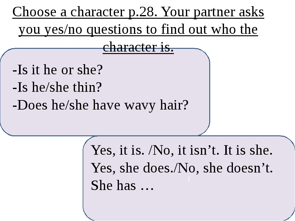 -Is it he or she? -Is he/she thin? -Does he/she have wavy hair? I Yes, it is...