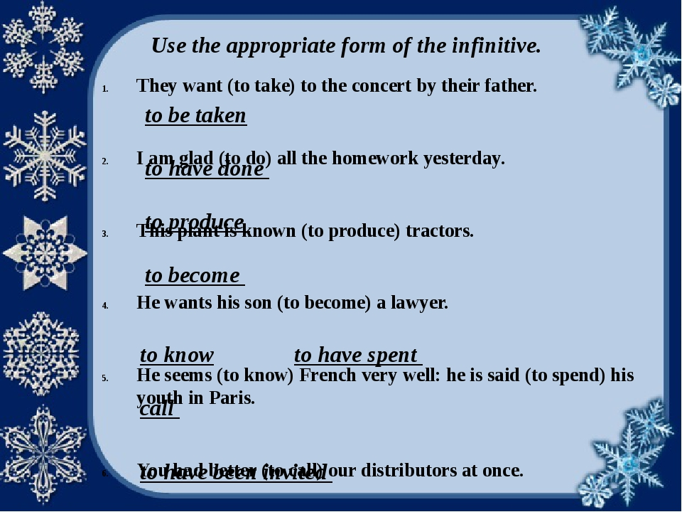 Use the appropriate form of the infinitive. They want (to take) to the concer...