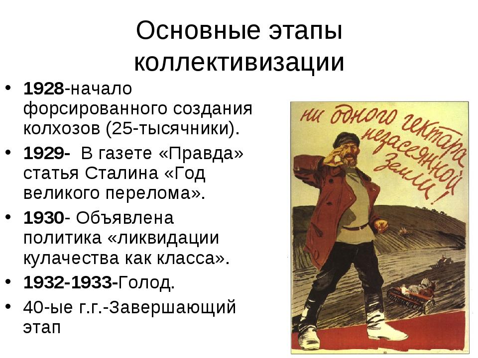 Основные этапы коллективизации 1928-начало форсированного создания колхозов (...