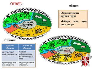 ответ: общее: примитивные орудия труда общие поля, луга, реки, озера отличие: