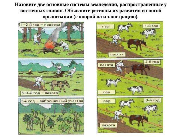 Назовите две основные системы земледелия, распространенные у восточных славян...