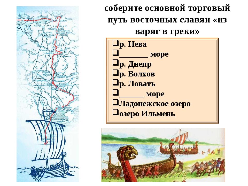 соберите основной торговый путь восточных славян «из варяг в греки» р. Нева _...