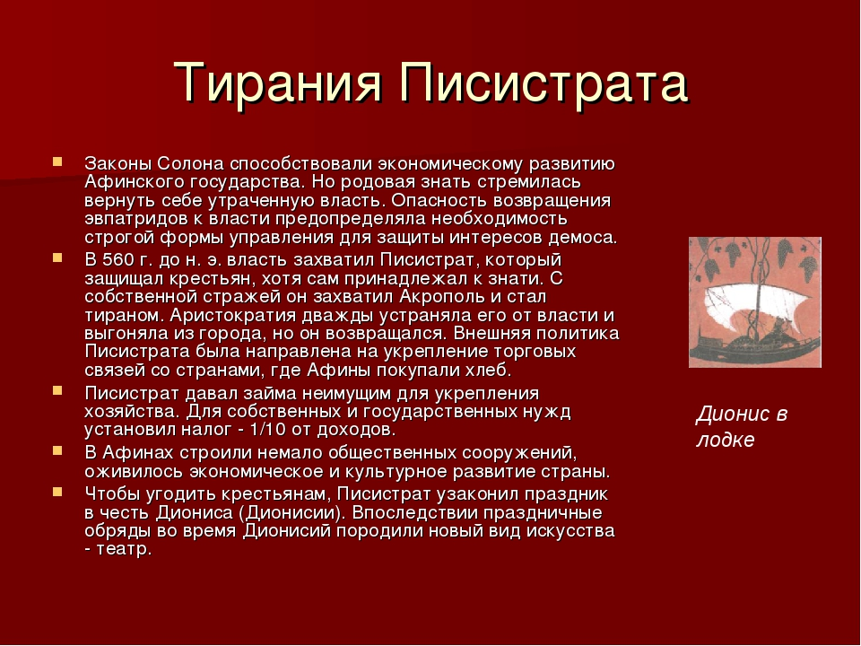 Тирания Писистрата Законы Солона способствовали экономическому развитию Афинс...