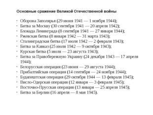 Основные сражение Великой Отечественной войны Оборона Заполярья (29 июня 1941