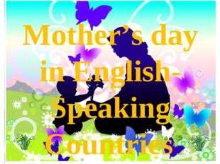 Mother's day in English-Speaking Countries