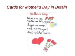 Cards for Mother's Day in Britain