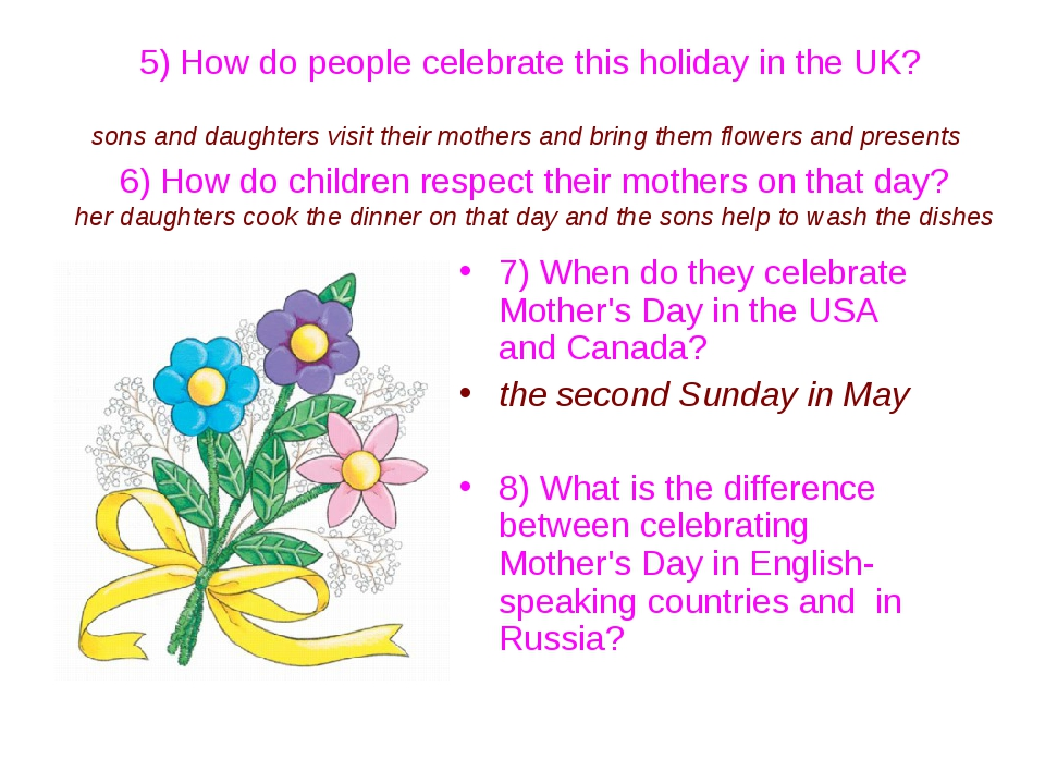 5) How do people celebrate this holiday in the UK? sons and daughters visit...