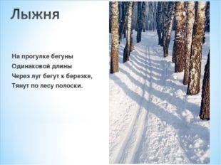 На прогулке бегуны Одинаковой длины Через луг бегут к березке, Тянут по лесу
