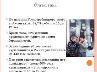 Статистика По данным Роспотребнадзора, всего в России курят 67,7% ребят от 15