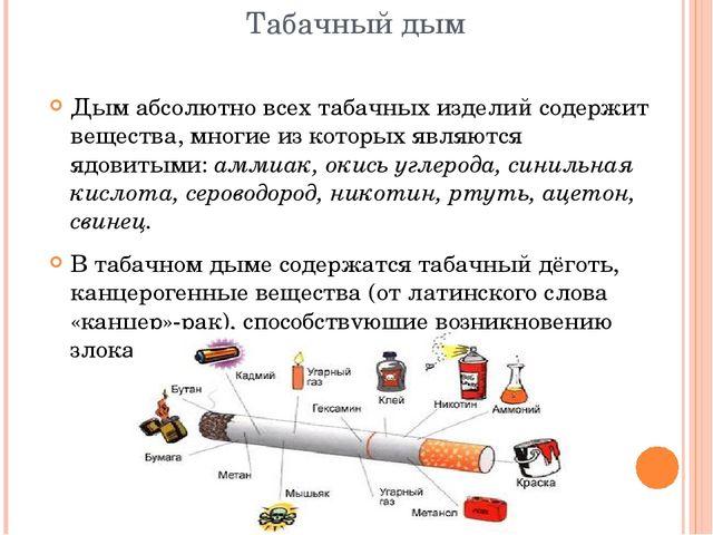 Табачный дым Дым абсолютно всех табачных изделий содержит вещества, многие из...