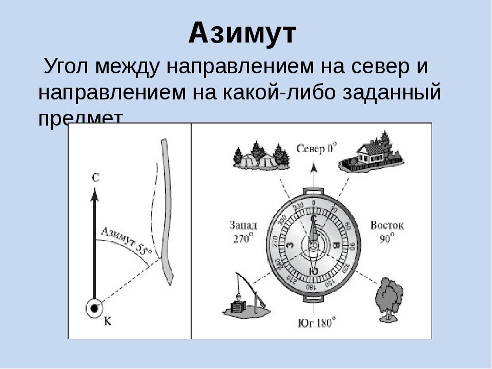 Азимут Угол между направлением на север и направлением на какой-либо заданный...