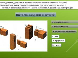 Шиповые соединения деревянных деталей со склеиванием отличаются большой прочн