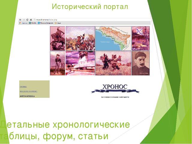 Исторический портал Детальные хронологические таблицы, форум, статьи