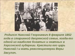 Родился Николай Георгиевич 8 февраля 1852 года в старинной дворянской семье,