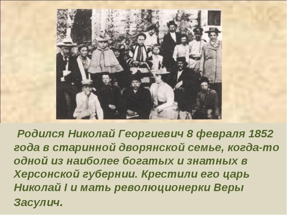 Родился Николай Георгиевич 8 февраля 1852 года в старинной дворянской семье,...