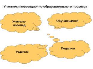 Учитель-логопед Обучающиеся Педагоги Участники коррекционно-образовательного
