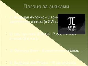 Погоня за знаками 1) Андриан Антонис - 6 точных десятичных знаков (в XVI в.);